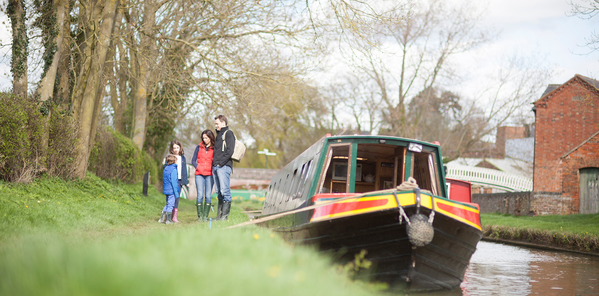 A canal boat with family