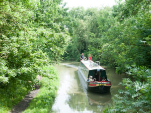 Narrowboat with family on holiday