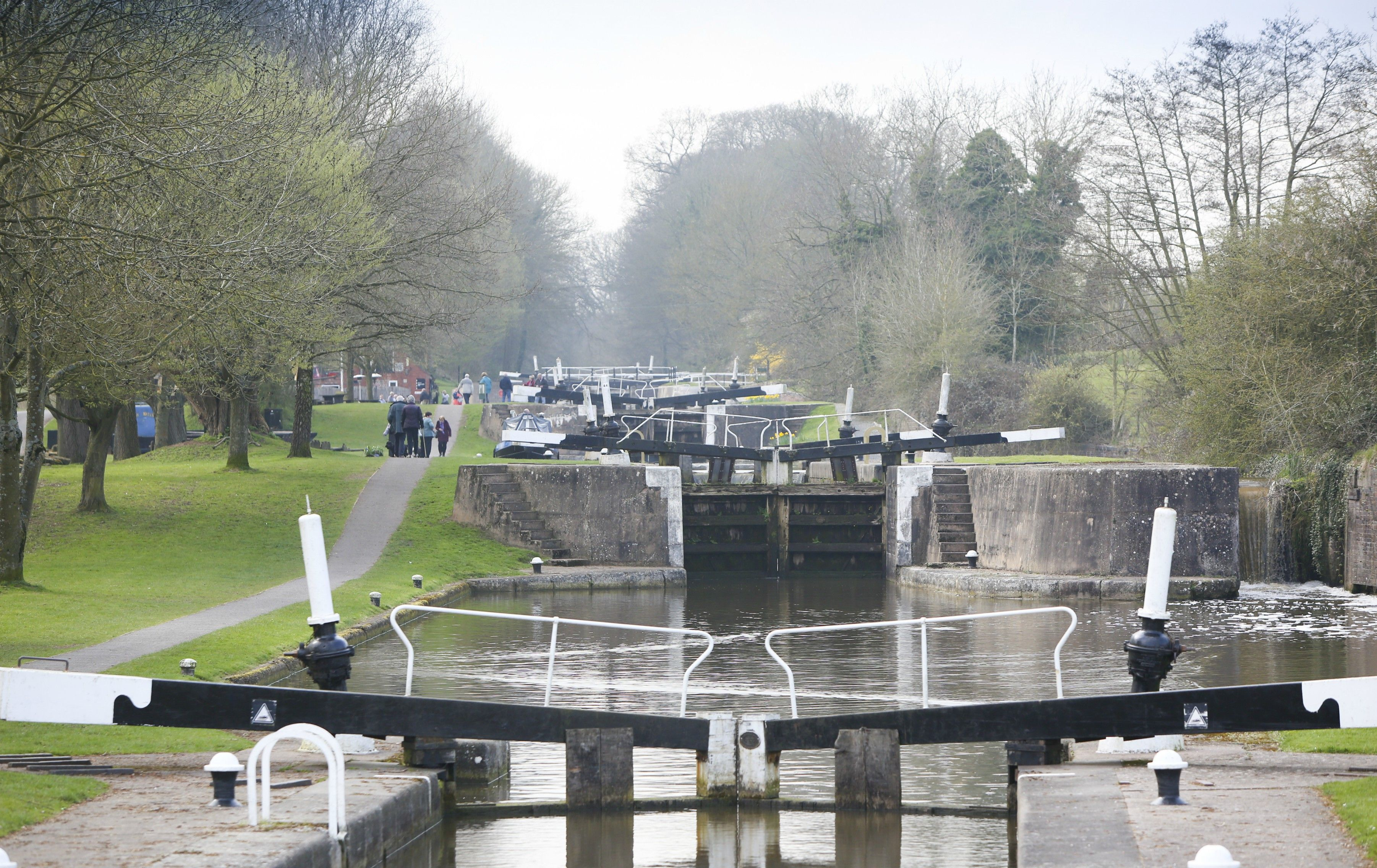 View up the Hatton flight of locks
